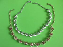 Two Vintage Rhinestone Necklaces, Amber & Clear Stones, White Enameling ... - $344,52 MXN