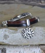 Leather Bracelet, Silver Charm Bracelet, Hammered Silver, Black Leather ... - $19.99