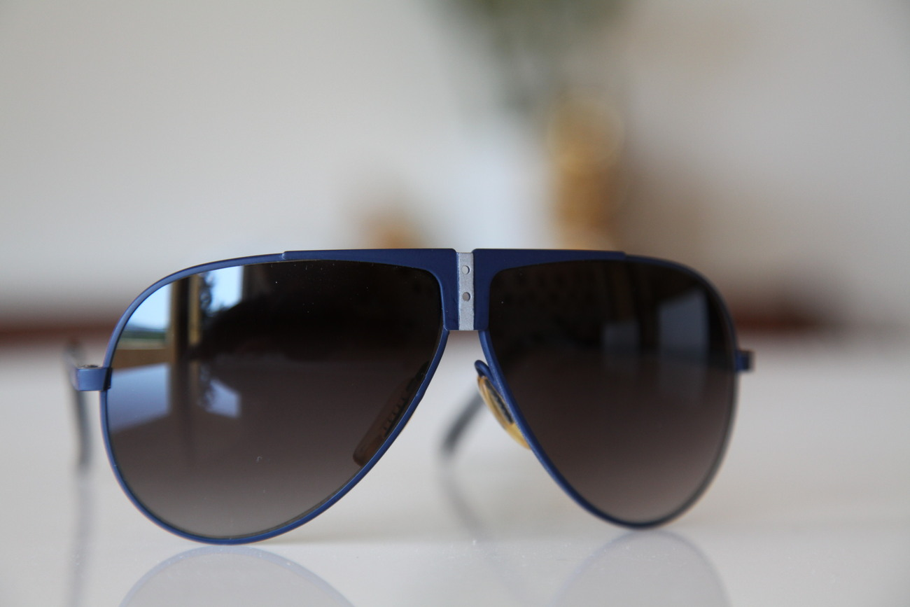 Vintage Aviator Sunglasses Navy Blue/ Silver/ Dark Lenses