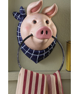 Country Farm Pig Kitchen Wall Mount Towel Holder - $19.95