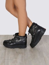 PRADA Drawstring Camouflage Nylon Ankle Boots Hiking Wedge Booties Lace Up 38 - $259.99