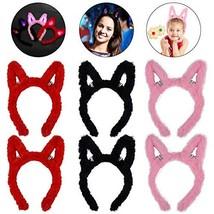 Coxeer 6PCS Light up Rabbit Ear Headband Plush Bunny Ears LED Headband C... - $15.01