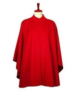 Red Poncho Cape, Babyalpaca wool fabric - $282.00
