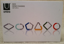 Umbra Geo Wine Charms Set of 6 Red Blue Green Yellow Gray Mint New NIB - $13.89 CAD