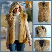 Full Pelt Long Red Hair Coyote Faux Fur Long Vest  Gilet