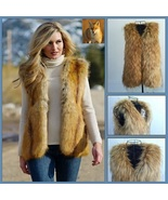 Full Pelt Long Red Hair Coyote Faux Fur Long Vest  Gilet  - $102.95
