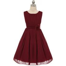 Burgundy Yoryu Chiffon Flower Girl Dress Birthday Party Prom Wedding Bri... - £27.32 GBP+
