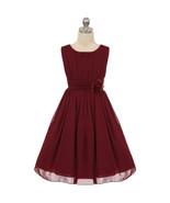 Burgundy Yoryu Chiffon Flower Girl Dress Birthday Party Prom Wedding Bri... - $36.00+
