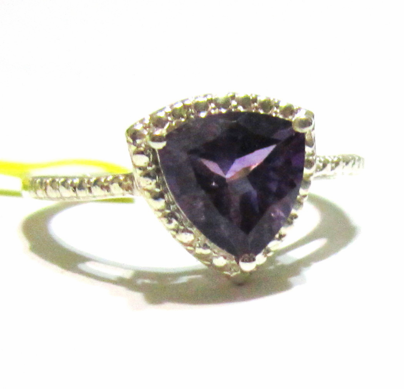 Primary image for Purple African Amethyst Trillion Solitaire Ring, 925 Silver, Size 7, 1.75(TCW)