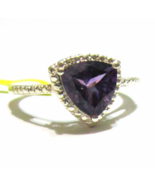 Purple African Amethyst Trillion Solitaire Ring, 925 Silver, Size 7, 1.75(TCW) - $19.99