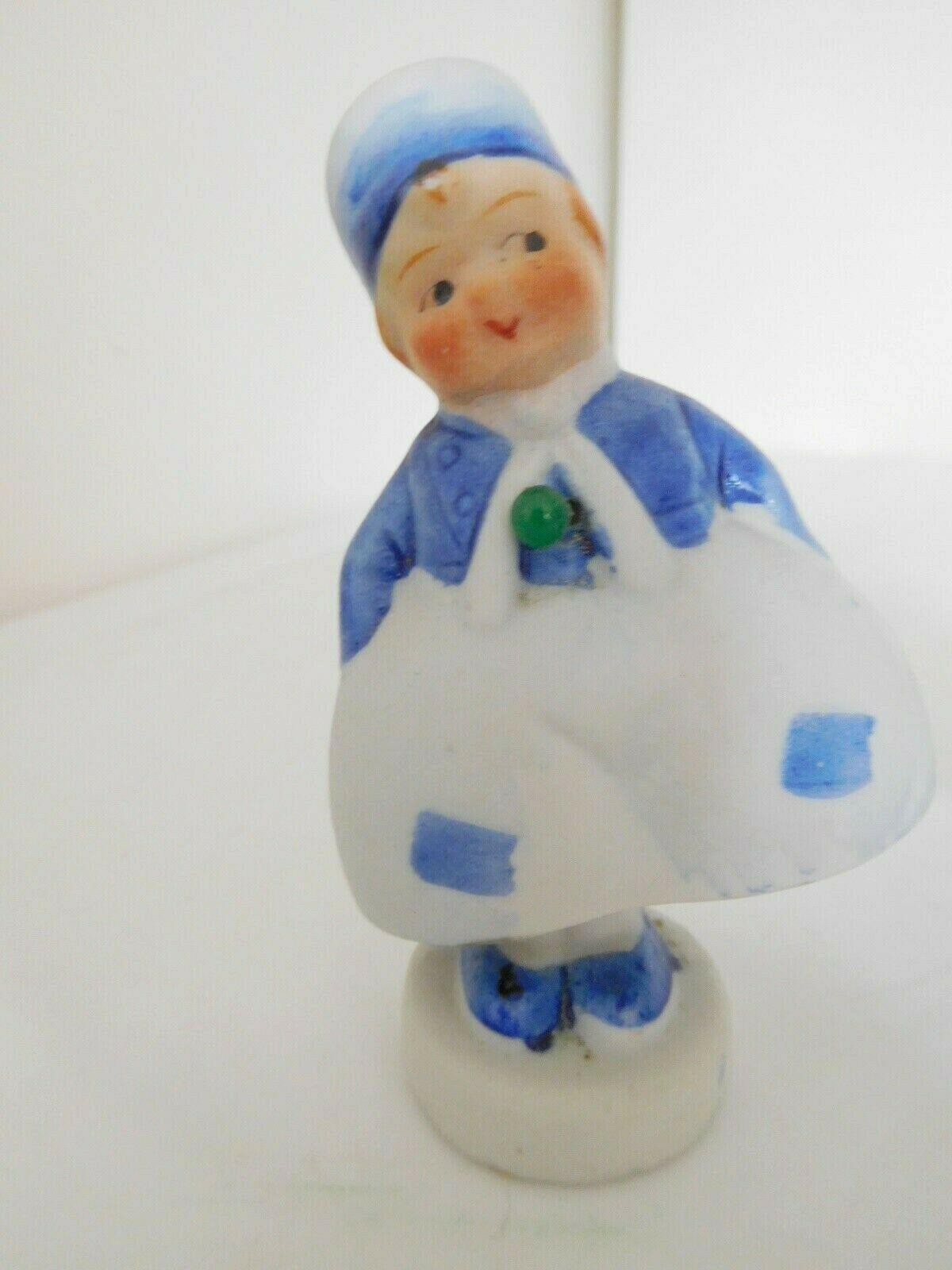 "Vintage Porcelain 3.5"" Dutch Pair Nodders Boy & Girl Swingers Japan"