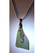 Dark Green Sea Glass Bronze Seahorse Pendant w/Chain - $16.00