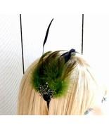 Olive Green And Black Feathered Satin Headband - $10.00
