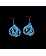 Handmade Seed Bead 4 Strand Knot Light Blue Pierced Earrings - $10.00