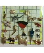 Lot of Animal Brooch 18 Silver Gold Tone Crystal Enamel Pink Purple Gree... - $29.69