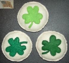 Felt Food - St. Patrick's Day - Shamrock Cookies - Set of 3 - Handmade - $7.00