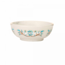 "4""x4''x1.5'' White Marble Fruit Bowl Turquoise Marquetry Inlay Best Givi... - $262.07"