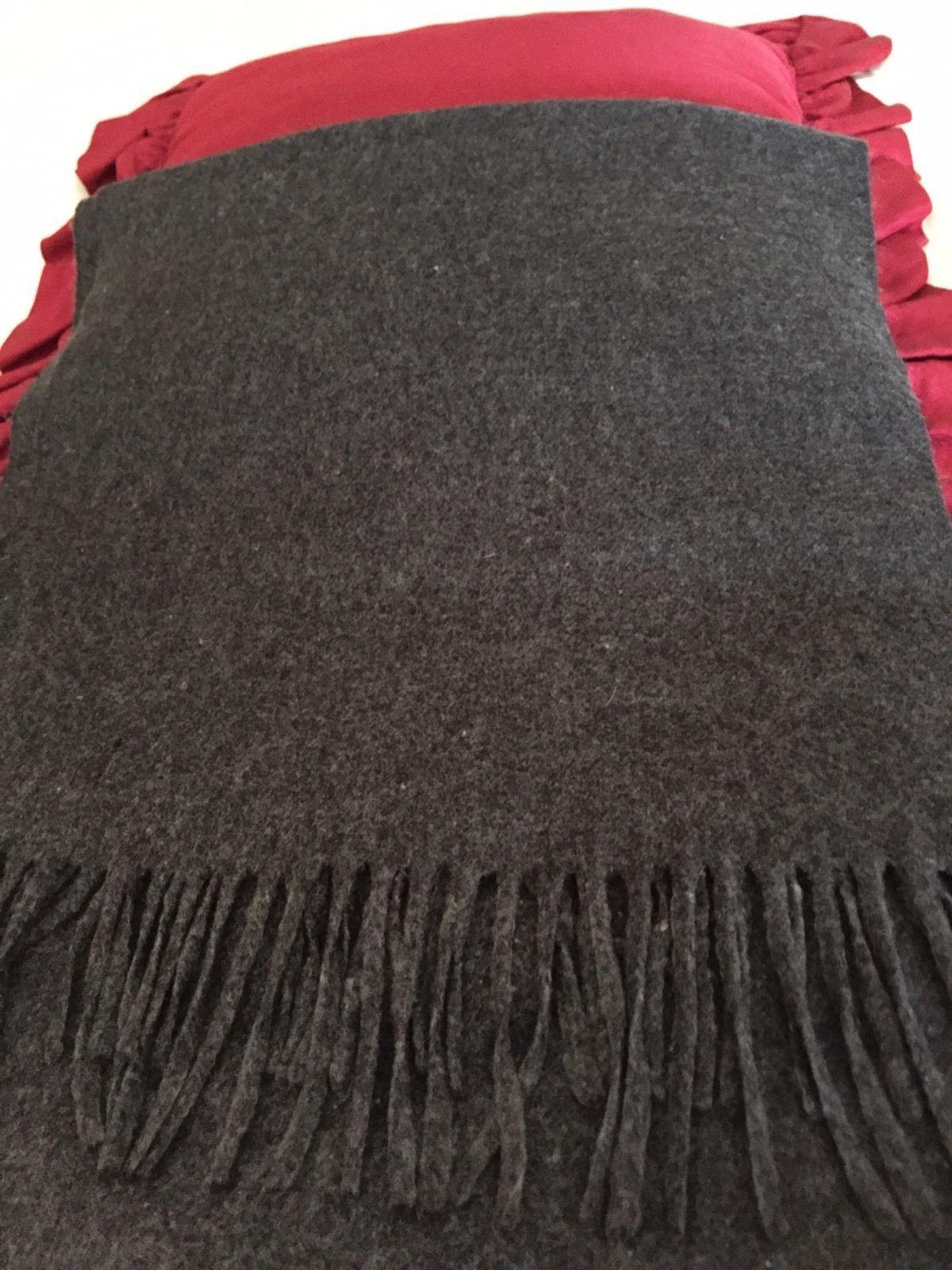 "Women's~ CASHLUXE~ Charcoal Gray Scarf w/Fringe Lg. Size 14.5""X74"" EUC/Acrylic"