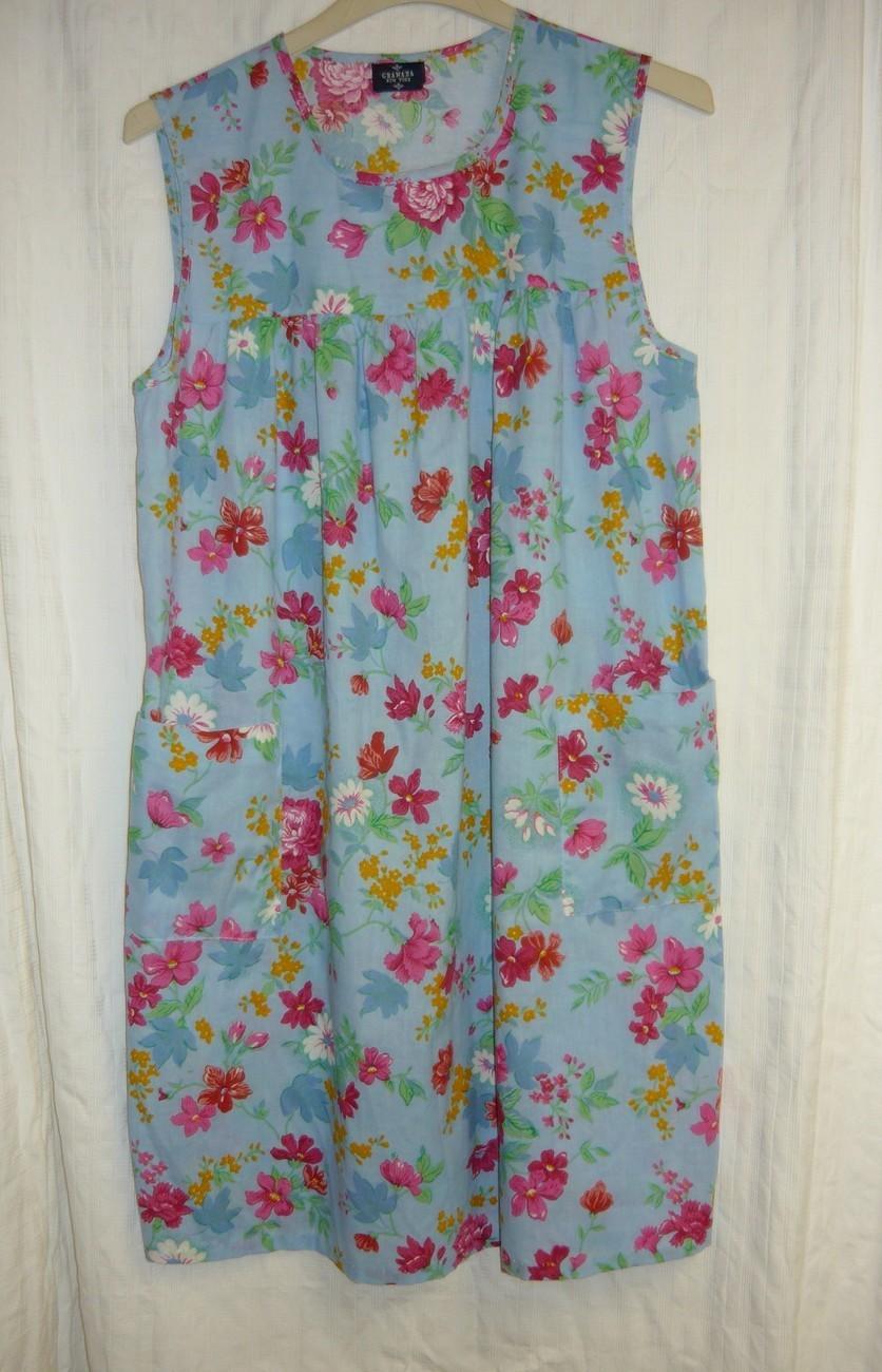 Sale~Blue Floral House Dress M/Lg. - $10.00