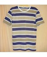 Tan & Navy Striped soft Jersey / T-Shirt - Med. - $5.00