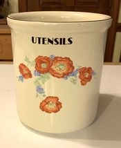 HALL CHINA ORANGE POPPY UTENSIL HOLDER HISTORICAL LINE LIMITED EDITION R... - $80.00