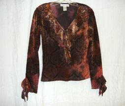 Sheer Velour Bronze Victorian / Goth Top-M - $10.00