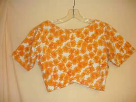 Orange Floral wrap Crop Top- 8 - $5.00