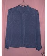 Slate Blue silky vintage Blouse -11/12 - $10.00