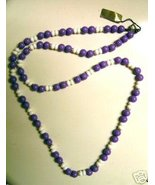 "Purple and White 19"" Long Bead Necklace  - $5.00"