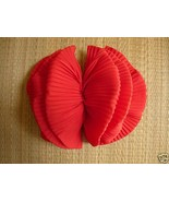 Big Red Fluffy Bow French Clasp Barrette - $5.00