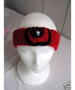 Goth Red and Black Handmade Earwarmer with Scull - $10.00