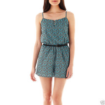 As U Wish Sleeveless Belted Print Romper Junior Size M Msrp $38.00 New   - $14.99