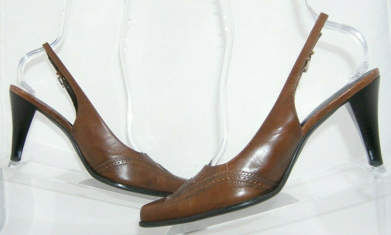 Franco Sarto brown leather pointed oxford brogue buckle slingback heels 7.5M image 3