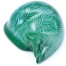 Tabaka Chigware Hand Carved Kisii Soapstone Green Sleeping Cat Figure image 2