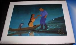 Disney Pocahontas on boat with Meeko Raccoon John Smith Gold Seal Lithog... - $27.76
