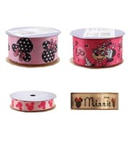 "Offray Disney Minnie Mouse Ribbon Icon Baby Head Pink 1 1/2"" x 9 ft 5/8 ... - $3.49+"