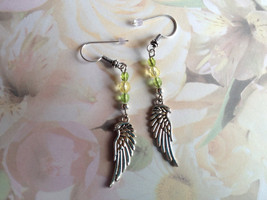Green Repurposed Dangle Earrings Handmade Small... - $16.00