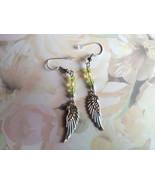 Green Repurposed Dangle Earrings Handmade Small... - $16.00