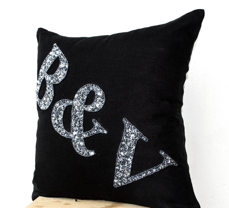 Black Linen Throw Pillows : Black Linen - Monogram Pillow - Grey Sequin Monogram Pillow- Throw pillows Gift - Decorative Bed ...