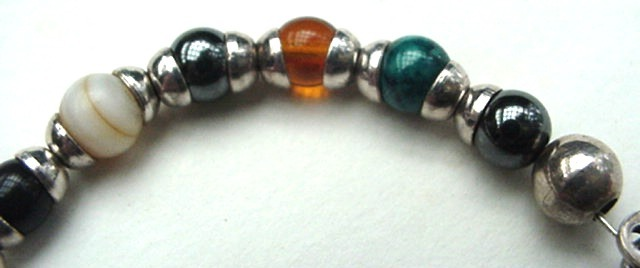 Vintage TC-26 Mexican 925 Sterling Silver & Colorful Gem Stone Bead Bracelet