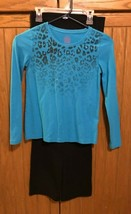 Girl's Outfit Shirt Blue Long Sleeve Faded Glory Pants Black Danskin Size 10 / 1 - $13.29