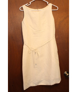 NWT Petite Sophisticate Light Yellow Linen Knee Length Belted Dress - Si... - $34.99