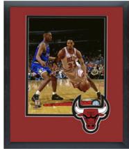 Scottie Pippen Chicago Bulls 1995 Playoffs-11 x 14 Team Logo Matted/Fram... - $43.55