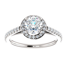 Thin Band Halo Diamond Engagement Ring 14K White Gold with 6mm Moissanite Center - $949.00