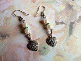 Faux Pearl Green Lucky Heart Charm Dangle Earri... - $16.00