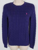 Womens Ralph Lauren Cable Knit sweater crew neck Purple Size M - $18.76