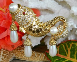 Hutton Wilkinson Fish Brooch Pin Faux Pearl Rhinestones Sea Life Gold - $84.95