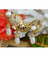 Hutton Wilkinson Fish Brooch Pin Faux Pearl Rhi... - $84.95