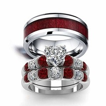 His Stainless Steel and Her CZ Red white Plated Engagement Wedding Band ... - $38.60
