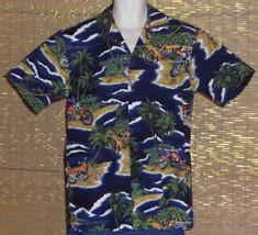 RJC Hawaiian Shirt Blue White Palms Motorcycles Flowers Beaches Size Small - $21.77